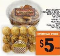 Del's Pastry Cinnamon Buns - Turnovers - Danish Or Variety Muffins Or English Bay Cookies