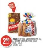 Wonder Hot Dog - Hamburger Buns (8's) or Country Harvest Grains Bread (570g - 600g)