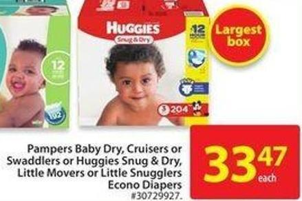 Huggies Snug & Dry Little Movers or Little Snugglers Econo Diapers