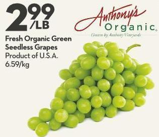 Fresh Organic Green Seedless Grapes