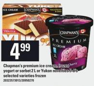 Chapman's Premium Ice Cream - Frozen Yogurt Or Sorbet 2 L Or Yukon Novelties 5-8's