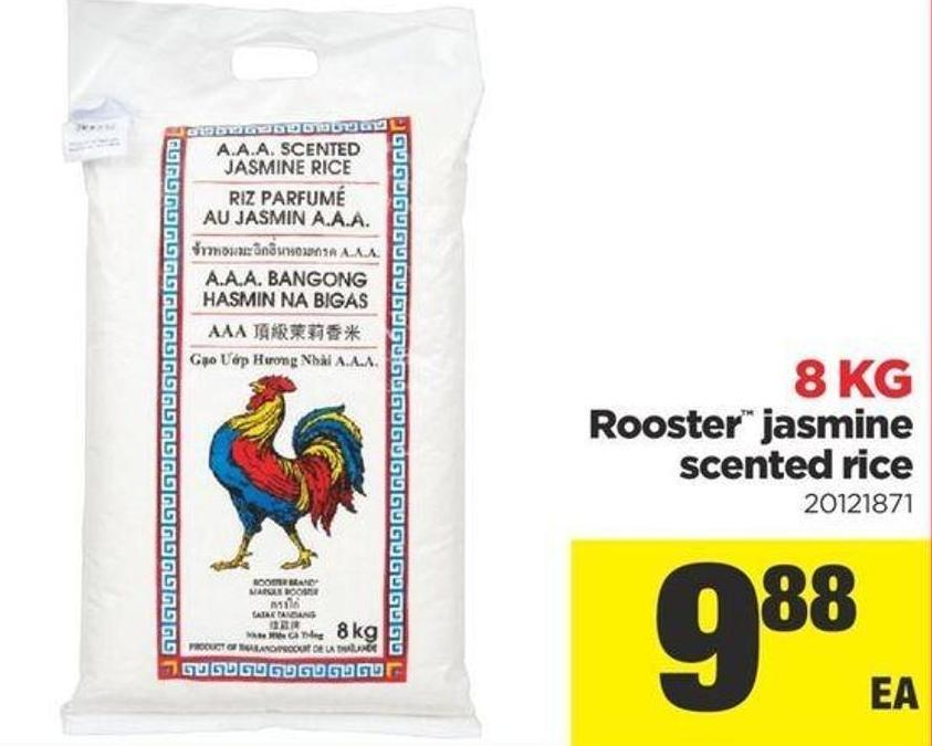 Rooster Jasmine Scented Rice - 8 Kg