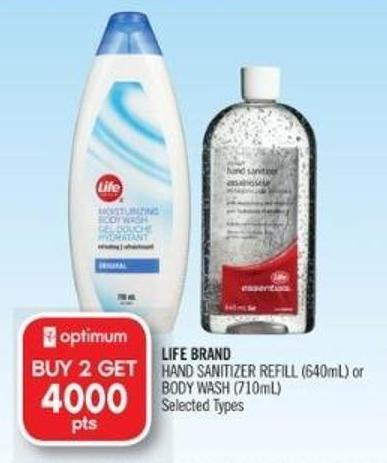 Life Brand Hand Sanitizer Refill (640ml) or Body Wash (710ml)