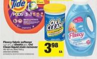 Fleecy Fabric Softener - 1.3/1.47 L Or Sheets 80's - Oxi Clean Liquid Stain Remover - 183-651 Ml/680/750 G