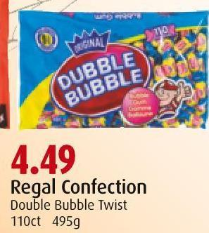 Regal Confection Double Bubble Twist 110ct  495g