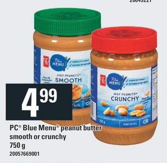 PC Blue Menu Peanut Butter Smooth Or Crunchy - 750 g