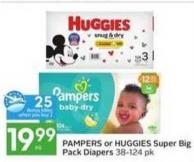 Pampers or Huggies Super Big Pack Diapers -25 Air Miles Bonus Miles