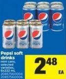 Pepsi Soft Drinks Mini Cans - 6x222 mL