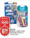 Gillette Sensor3 or Simply Venus Disposable Razors 4's