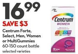 Centrum Forte -  Select - Men - Women  or Multigummies 60-150 Count Bottle