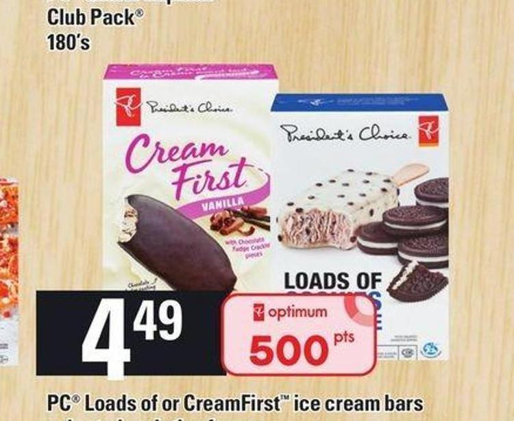 PC Loads Of Or Creamfirst Ice Cream Bars - Pkg of 4/6