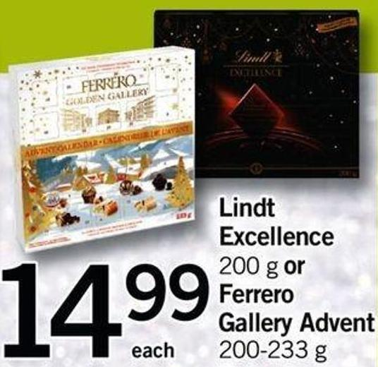 Lindt Excellence - 200 G Or Ferrero Gallery Advent - 200-233 G