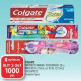 Colgate Maxwhite Manual Toothbrush (1's) - Maxfresh (150ml) or Total (120ml) Toothpaste