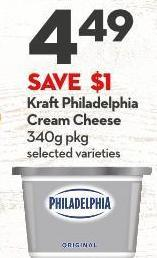 Kraft Philadelphia Cream Cheese 340g Pkg