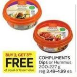 Compliments Dips or Hummus 200-227 g