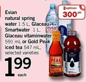 Evian Natural Spring Water 1.5 L - Glaceau Smartwater 1 L - 500 Glaceau Vitaminwater 591 Ml Or Gold Peak Iced Tea 547 Ml