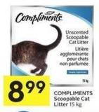 Compliments Scoopable Cat Litter 15 Kg