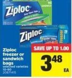 Ziploc Freezer Or Sandwich Bags - 10-90
