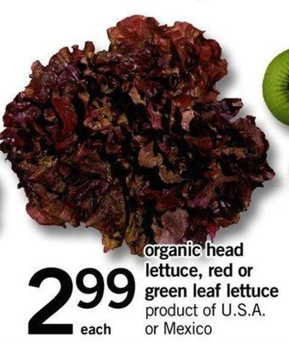 Organic Head Lettuce - Red Or Green Leaf Lettuce
