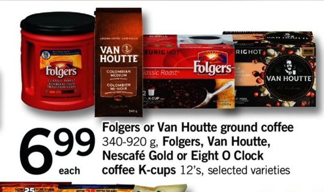 Folgers Or Van Houtte Ground Coffee 340-920 G - Folgers - Van Houtte - Nescafé Gold Or Eight O Clock Coffee K-cups 12's