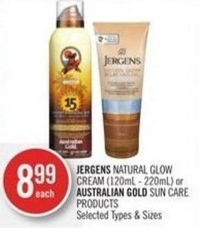 Jergens Natural Glow Cream (120ml - 220ml) or Australian Gold Sun Care Products