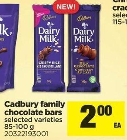 Cadbury Family Chocolate Bars - 85-100 G