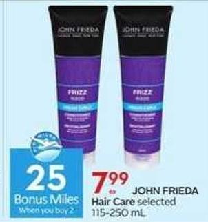 John Frieda Hair Care - 25 Air Miles Bonus Miles