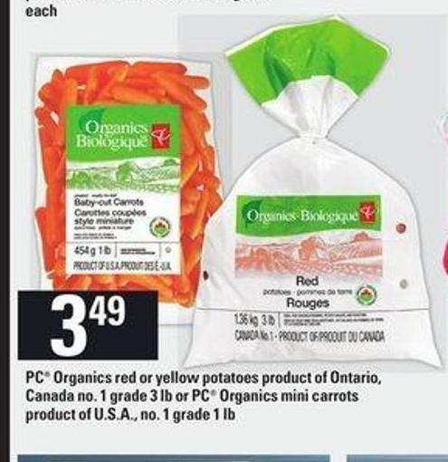 PC Organics Red Or Yellow Potatoes Product Of Ontario - 3 Lb - Or PC Organics Mini Carrots - 1 Lb