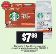 Starbucks K-cup 10's Or Roast And Ground Or Whole Bean Coffee 311/340 g