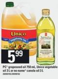 PC Grapeseed Oil - 750 Ml - Unico Vegetable Oil - 3 L Or No Name Canola Oil - 3 L