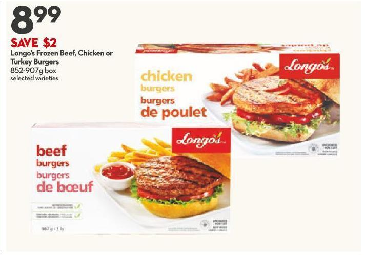 Longo's Frozen Beef - Chicken or Turkey Burgers