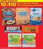 PC Blue Menu Pasta - 375 g - PC Fractional Pack Coffee - 71 g - Cream Of Wheat Oatmeal - 84-105 g - Hershey's - Reese Family Size Chocolate Bar - 100/120 g - PC Organics Bite Sized Snacks - 6 g - PC Oraganics Smoothie Melts - 6 g
