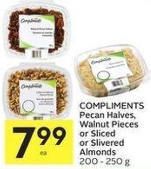 Compliments Pecan Halves - Walnut Pieces or Sliced or Slivered Almonds 200 - 250 g