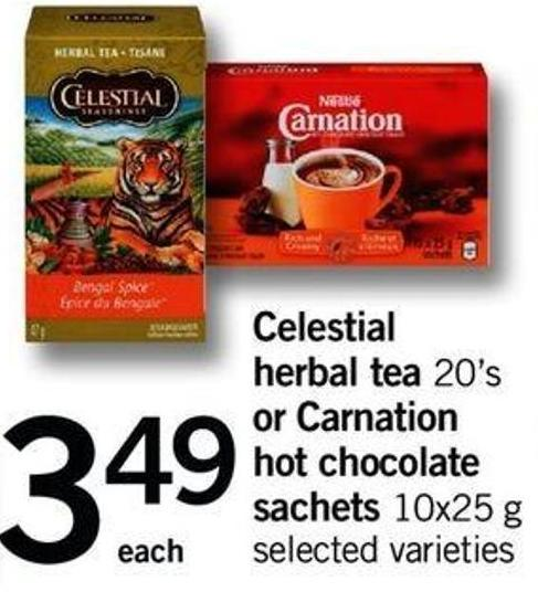 Celestial Herbal Tea - 20's Or Carnation Hot Chocolate Sachets - 10x25 G