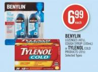Benylin Lozenges (40's) - Cough Syrup (100ml) or Tylenol Cold Products (20's)