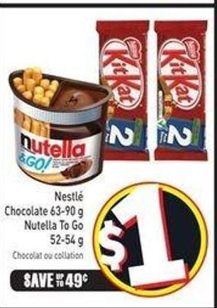 Nestlé Chocolate 63-90 g Nutella To Go 52-54 g