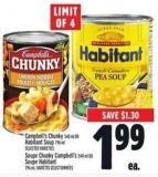 Campbell's Chunky 540 ml Or Habitant Soup 796 ml