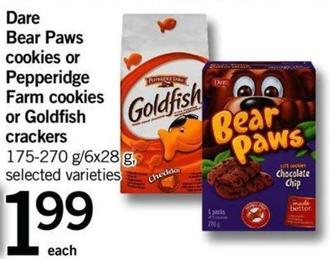 Dare Bear Paws Cookies Or Pepperidge Farm Cookies Or Goldfish Crackers - 175-270 G/6x28 G