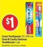Crest Toothpaste 50-100 mL Oral-B Cavity Defense Toothbrush 1 Pk