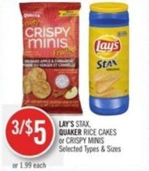 Lay's Stax - Quaker Rice Cakes or Crispy Minis