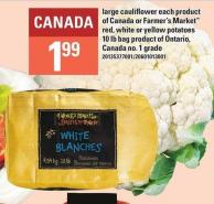 Large Cauliflower Each Or Farmer's Market Red - White Or Yellow Potatoes - 10 Lb Bag