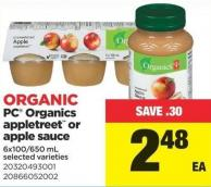 PC Organics Appletreet Or Apple Sauce - 6x100/650 mL