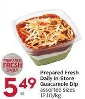 Prepared Fresh Daily In-store Guacamole Dip Assorted Sizes 12.10/kg