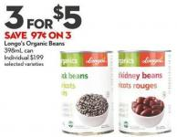 Longo's Organic Beans 398ml Can