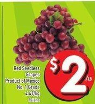 Red Seedless Grapes Product of Mexico No. 1 Grade 4.41/kg