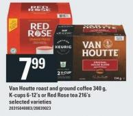 Van Houtte Roast And Ground Coffee 340 G - K-cups 6-12's Or Red Rose Tea 216's