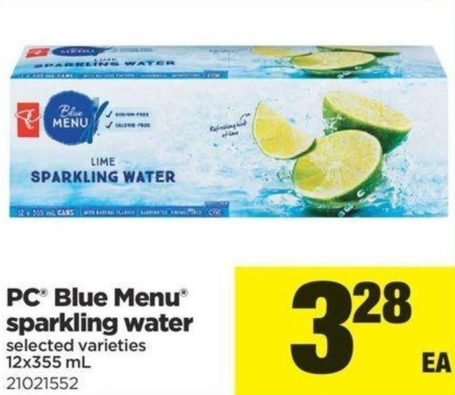 PC Blue Menu Sparkling Water - 12x355 mL