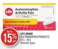 Life Brand Acetaminophen Products 24's - 80's Selected Types