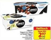 Liberte Yogurt 4 X 100 g or Greek Yogurt 2 X 130 g