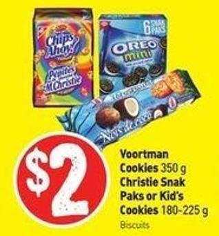 Voortman Cookies 350 g Christie Snak Paks or Kid's Cookies 180-225 g